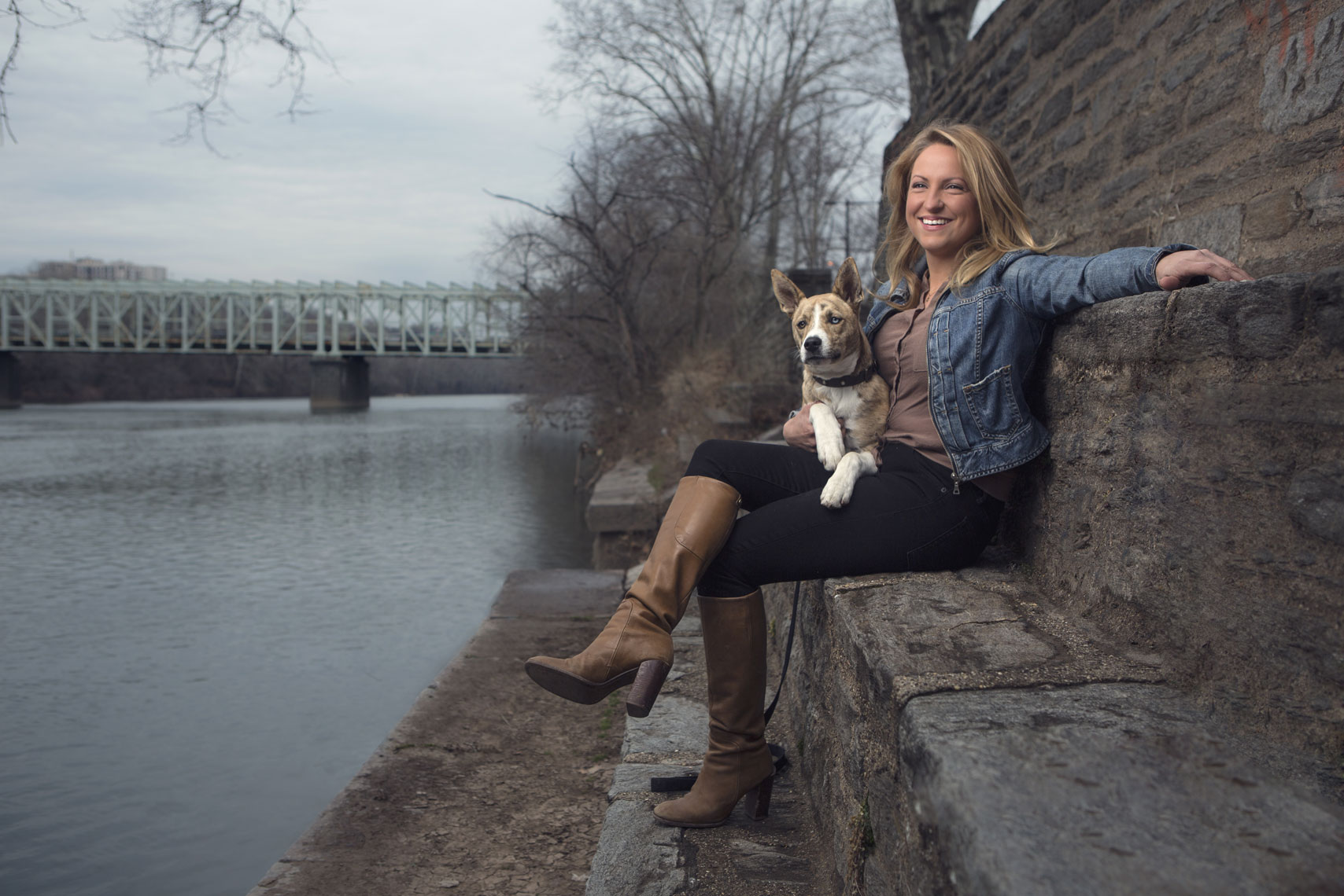 Philadelphia Photographer Environmental Portrait Schuylkill River With Dog