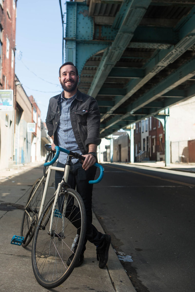 Philadelphia Photographer Environmental Portrait Under El With Bike