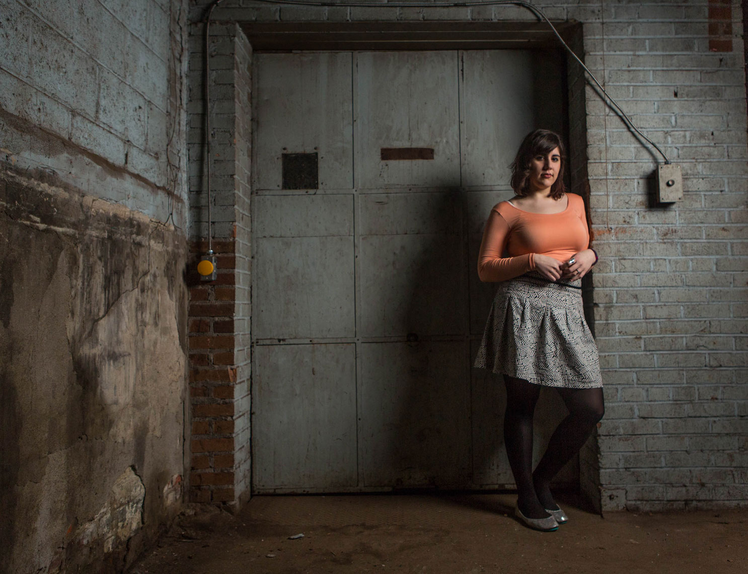 Philadelphia Photographer Environmental Portrait of Woman Freight Elevator